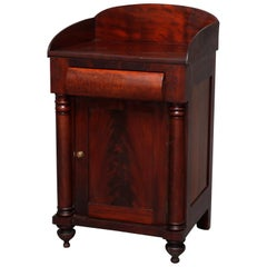 Antique American Empire Flame Mahogany Half Commode, 19th Century