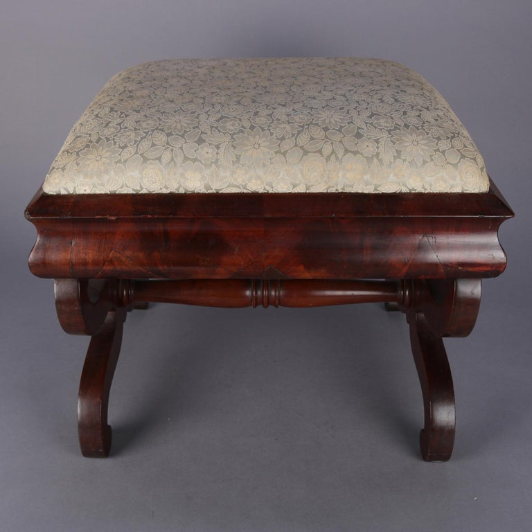 American Empire Furniture Dates: Antique American Empire Flame Mahogany Ogee Upholstered