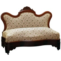 Antique American Empire Flame Mahogany Slipper Bench, circa 1850