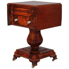 Antique American Empire Flame Mahogany Two-Drawer Drop-Leaf Sewing Stand