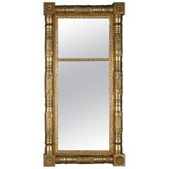 Antique American Empire Giltwood Trumeau Double Mirror, circa 1900