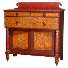 Antique American Empire Grain Painted Sideboard, circa 1840's