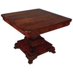 Antique American Empire Grecian Style Flame Mahogany Pedestal Centre Table