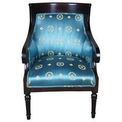 Antique American Empire Mahogany Club Chair Scroll Arm Accent Scalamandre Tub