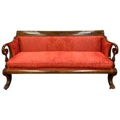 Antique American Empire Mahogany Red Silk Sofa Bench