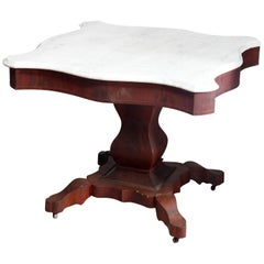Antique American Empire Marble-Top Mahogany Center Table, circa 1880