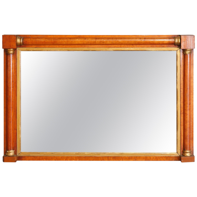 Antique American Empire Parcel-Gilt Satinwood Over Mantel Mirror, circa 1830