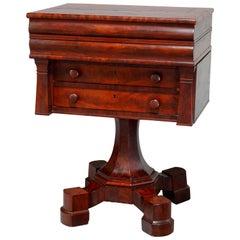 Antique American Empire Quervelle School Flame Mahogany Artist Work Desk