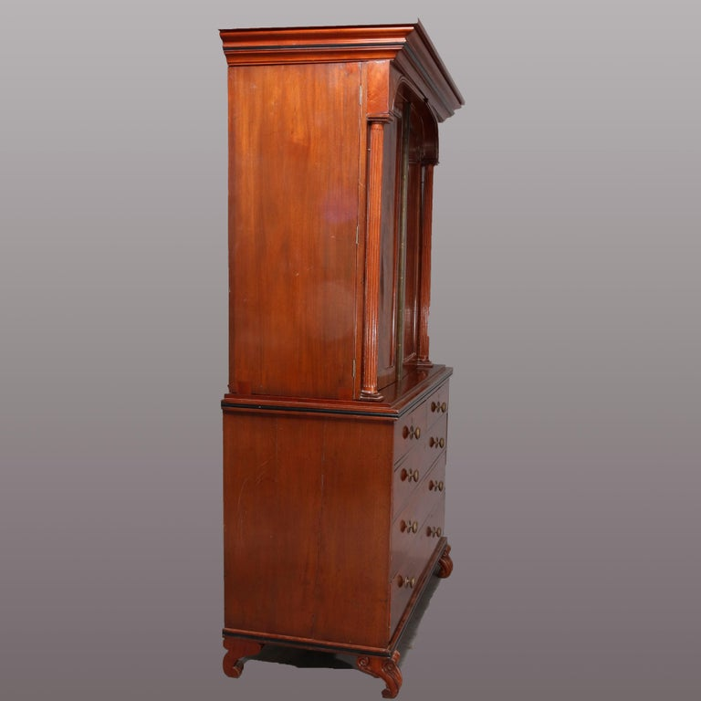 Antique American Empire Quervelle School Flame Mahogany Linen Chest, circa 1839 In Good Condition In Big Flats, NY