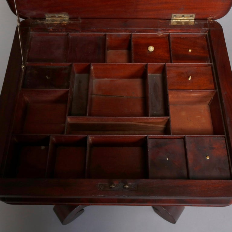 Antique American Empire Quervelle School Flame Mahogany Sewing Stand, circa 1890 For Sale 5