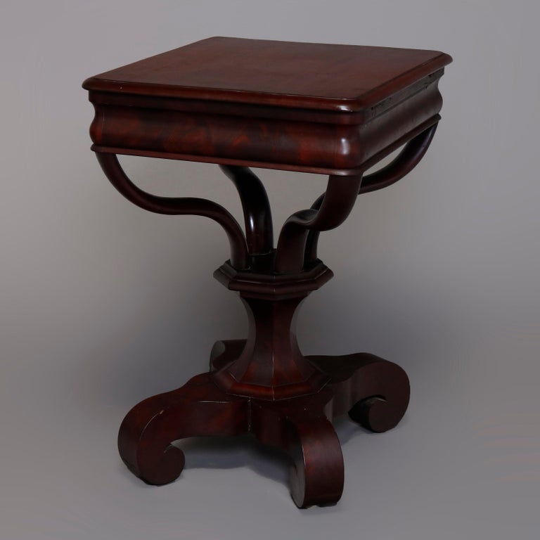 Antique American Empire Quervelle School Flame Mahogany Sewing Stand, circa 1890 For Sale 6