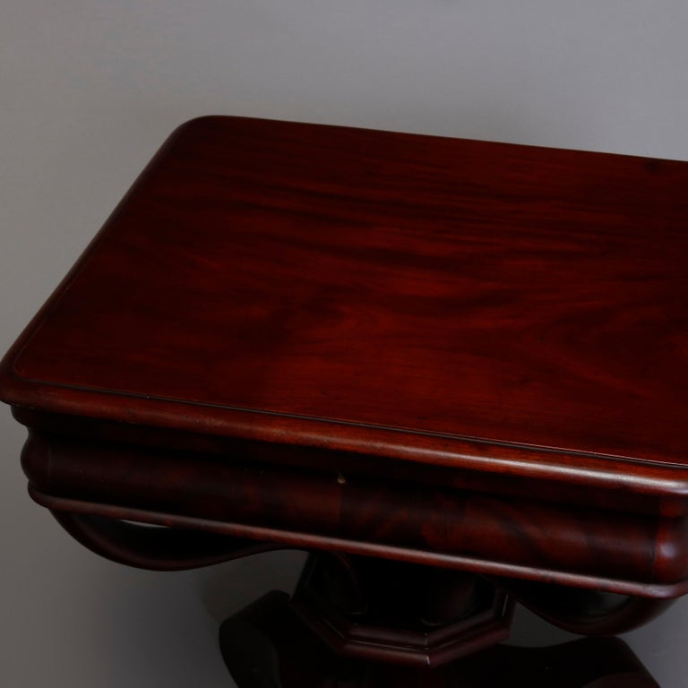 Antique American Empire Quervelle School Flame Mahogany Sewing Stand, circa 1890 In Good Condition For Sale In Big Flats, NY