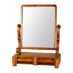 Antique American Empire Quervelle School Flame Mahogany Shaving Mirror, c1840