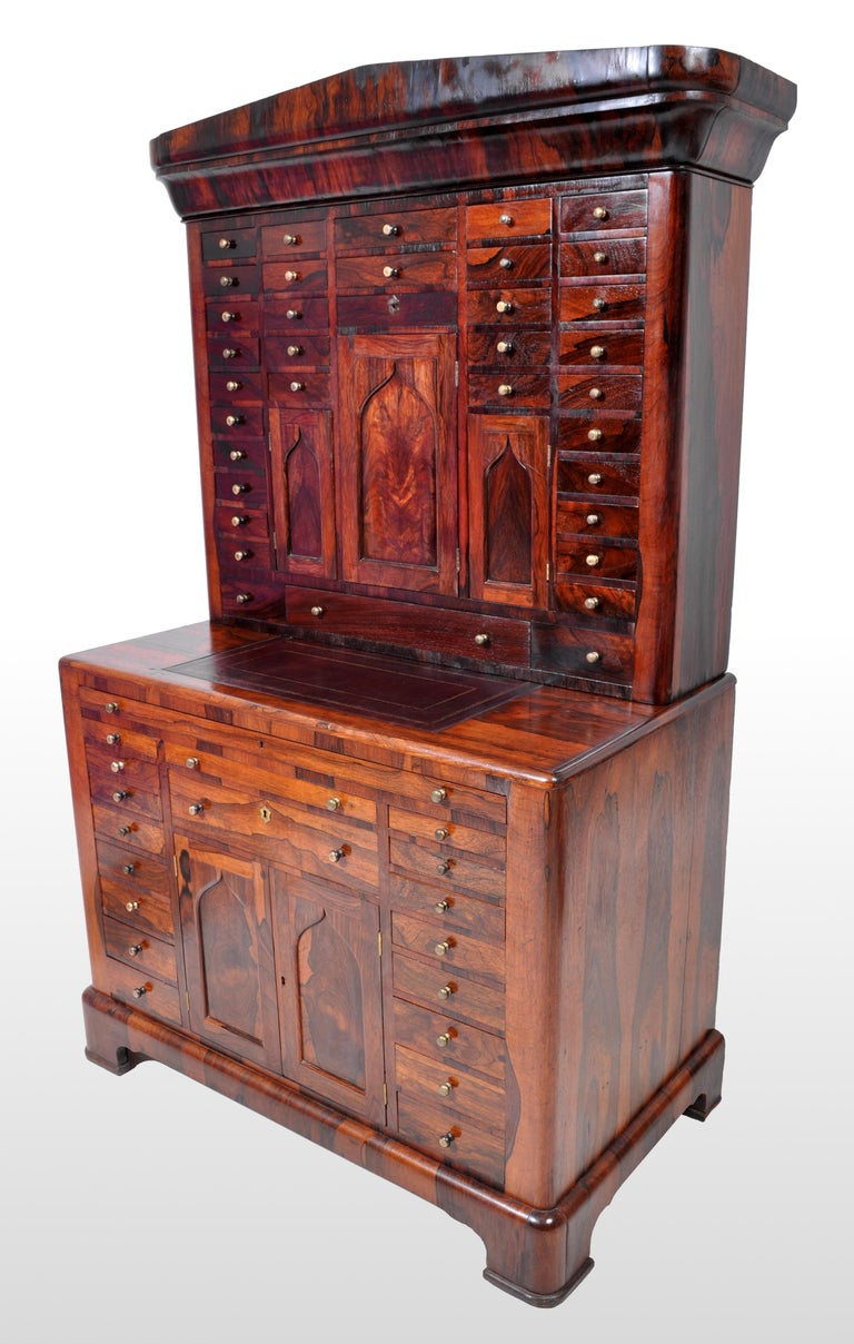 Antique American Empire Rosewood Dental / Medical Cabinet, circa 1820 In Good Condition For Sale In Portland, OR