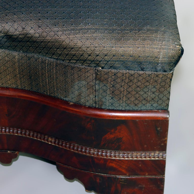 American Empire Upholstered Flame Mahogany Serpentine Bench, 19th Century For Sale 8