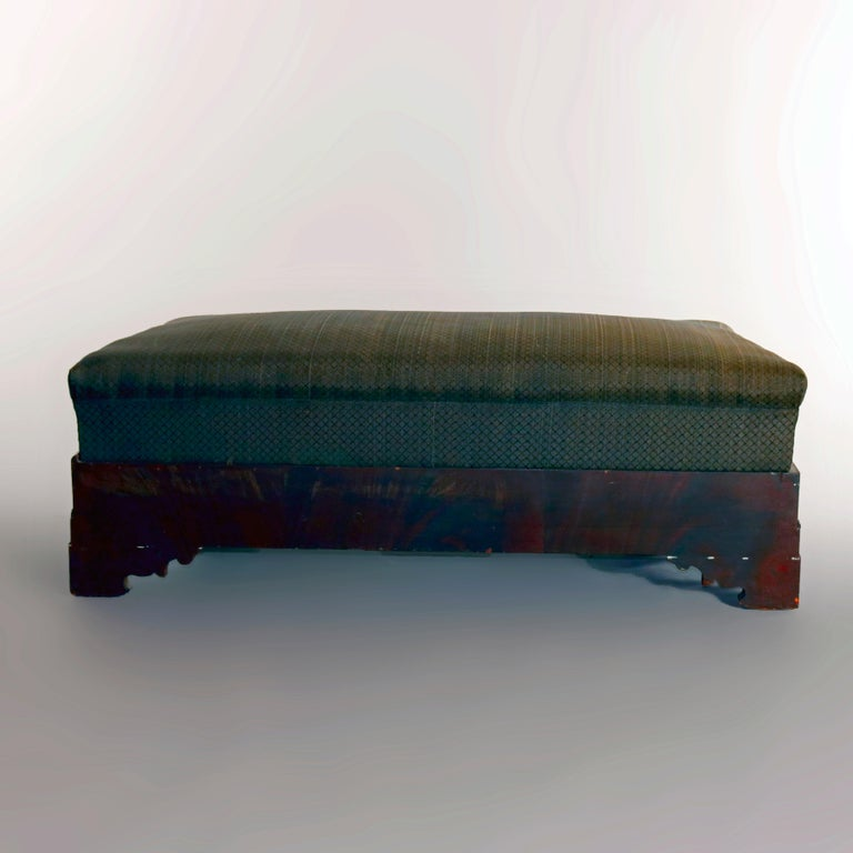 American Empire Upholstered Flame Mahogany Serpentine Bench, 19th Century For Sale 1