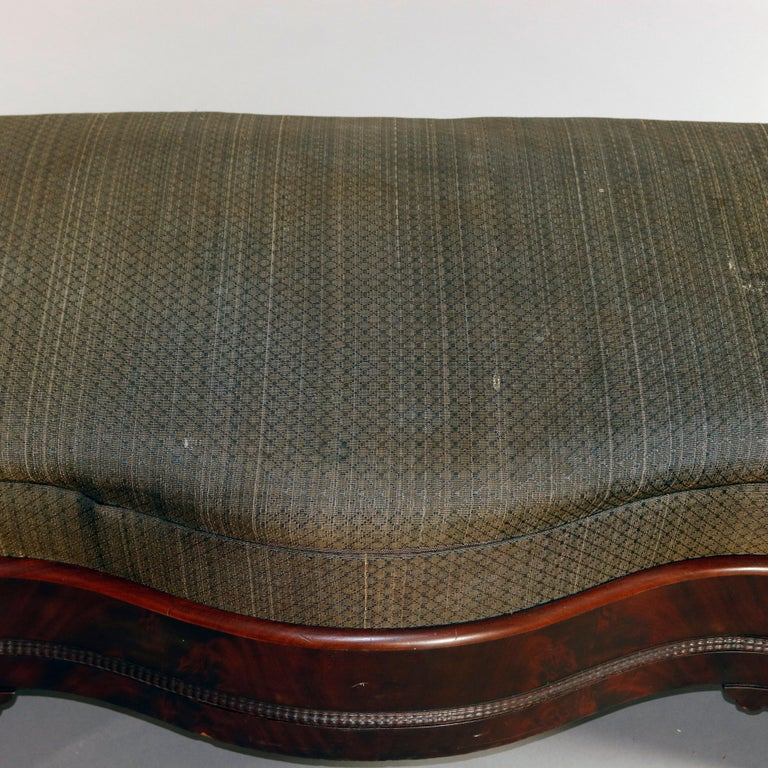 American Empire Upholstered Flame Mahogany Serpentine Bench, 19th Century For Sale 3