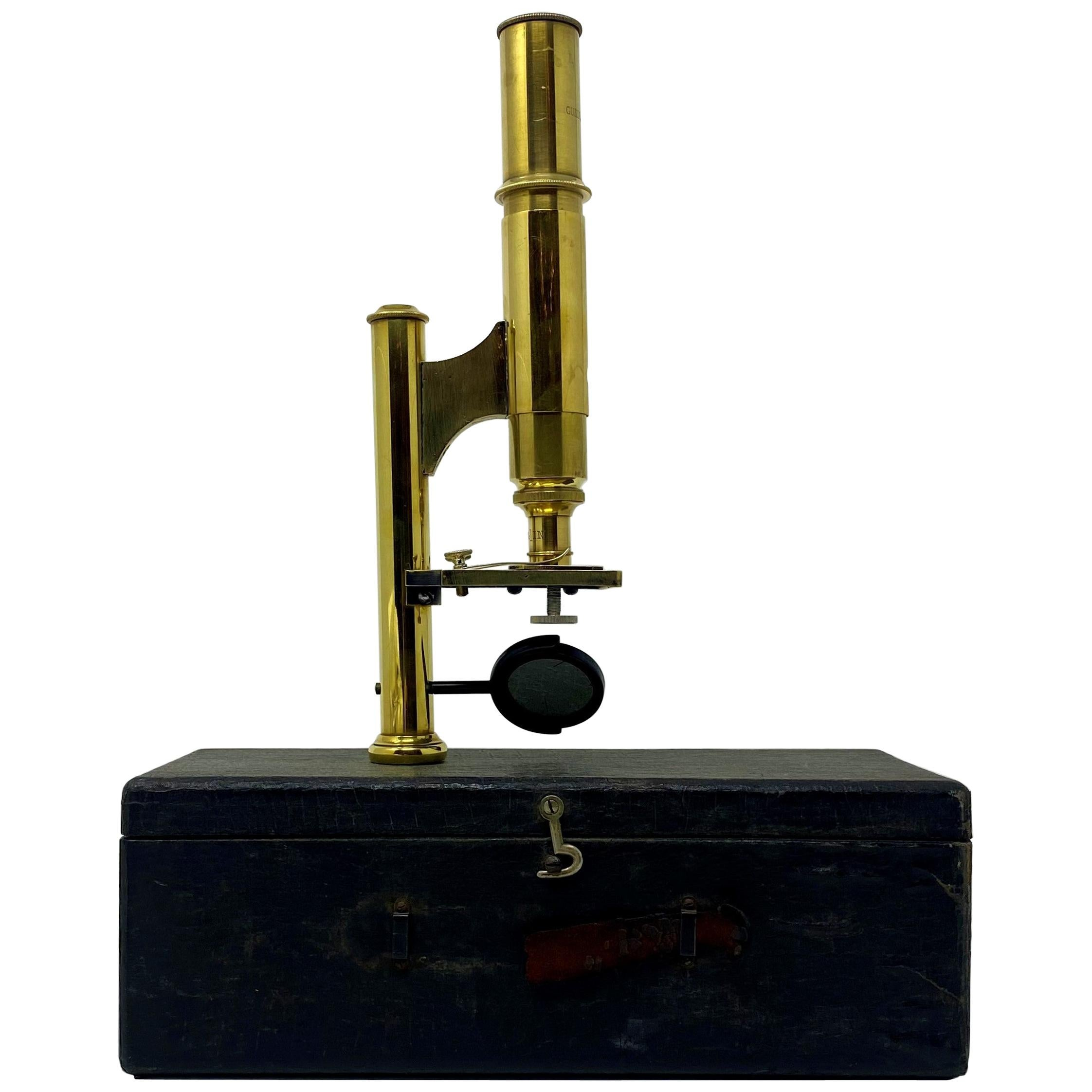 """Antique American """"Ernst Gundlach"""" Field Microscope with Carrying Case circa 1900"""