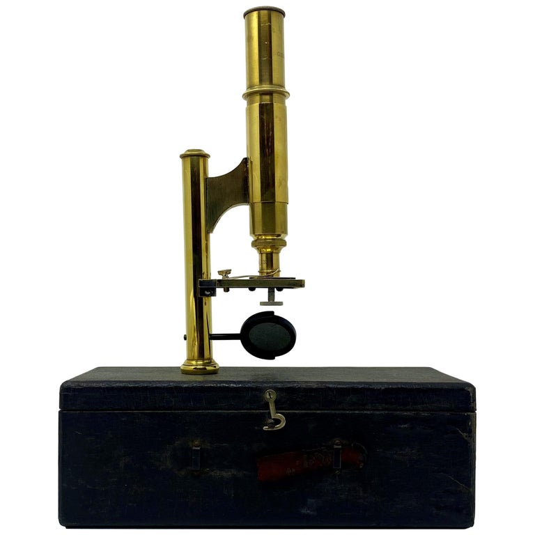 "Antique American ""Ernst Gundlach"" Field Microscope with Carrying Case circa 1900 For Sale"