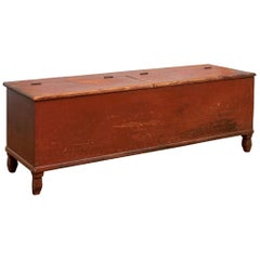Antique American Farm Chest in Original Oxblood Paint