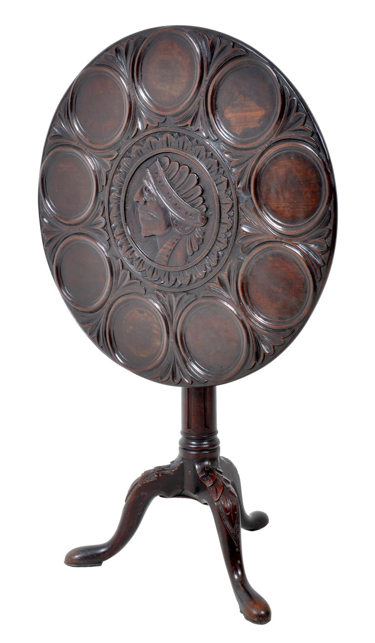 Carved Antique American Federal Mahogany Tilt-Top Supper Table, circa 1790 For Sale