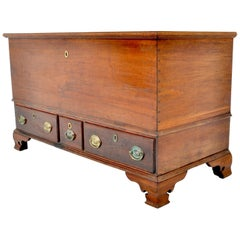 Antique American Federal Period Chippendale Cherry Mule Chest, Pennsylvania 1780