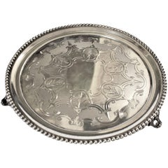 Antique American Federal S. Wilmot Sterling Silver Footed Serving Dish or Tray