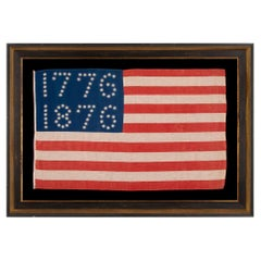 """Antique American Flag with Stars that Spell """"1776-1876"""", ca 1876"""