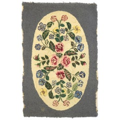 Antique American Floral Hooked Rug with English Chintz Style