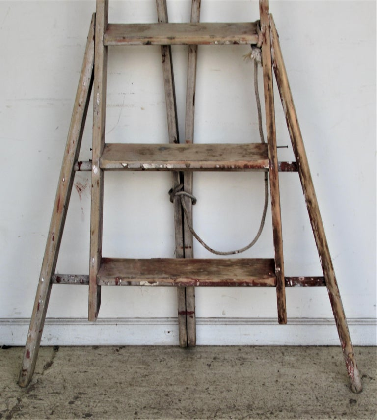 Antique American Folding A Frame Orchard Ladder For Sale