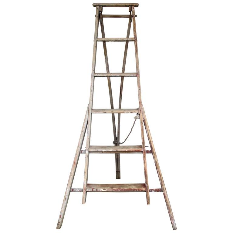 Antique American Folding A-Frame Orchard Ladder