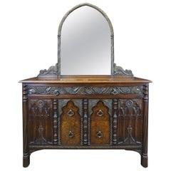 Antique American Furniture Co Gothic Revival Walnut Burl Carved Dresser & Mirror