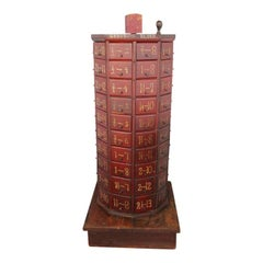 Antique American General Store Revolving Red Cabinet