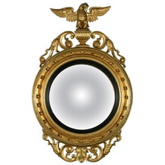 Antique American Gilt Convex Mirror with Eagle Detail