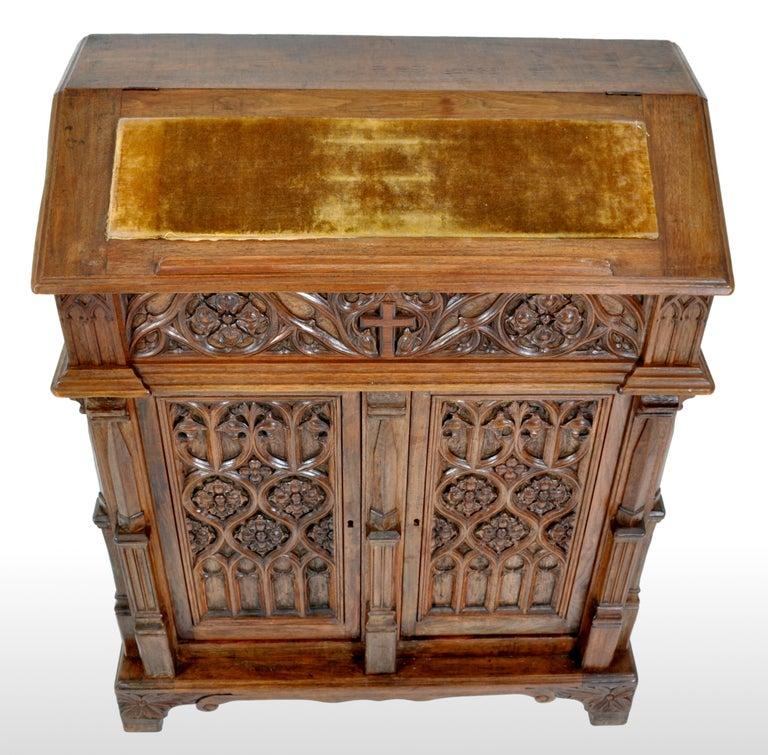 Oak Arbor Church: Antique American Gothic Revival Carved Oak Lectern/Cabinet