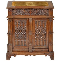 Antique American Gothic Revival Carved Oak Lectern/Cabinet/Desk, circa 1860