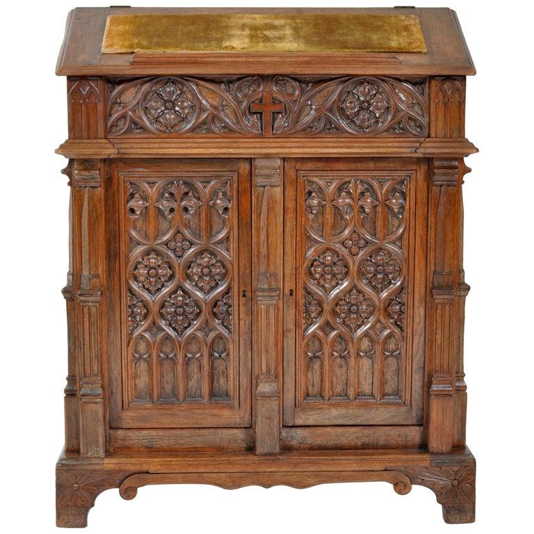 Oak Arbor Court: Antique American Gothic Revival Carved Oak Lectern/Cabinet