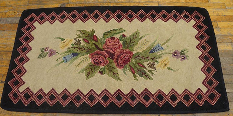 Antique American hooked rug,size: 2'6