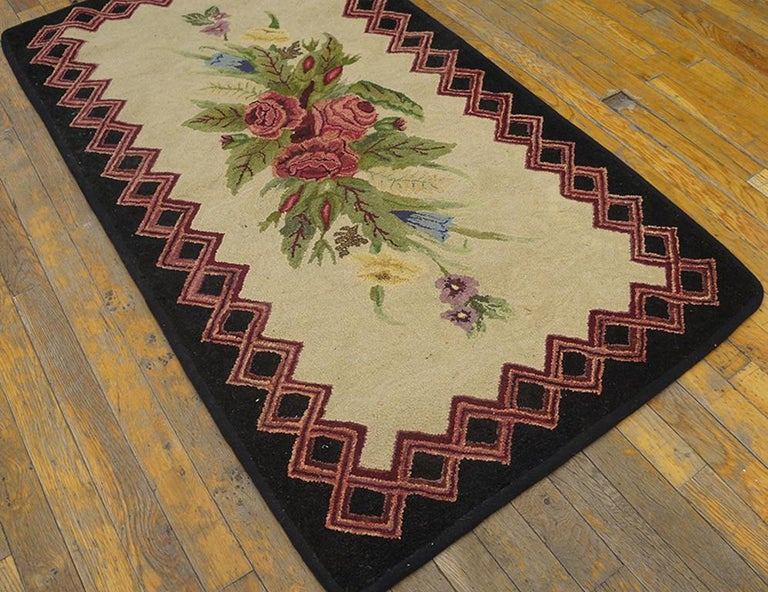 Hand-Woven Antique American Hooked Rug For Sale