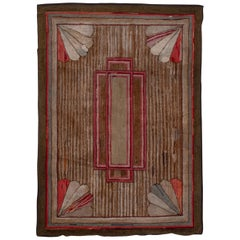 Antique American Hooked Rug, circa 1920s