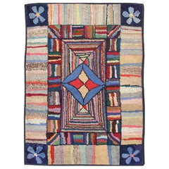 Antique American Hooked Rug with Colorful Geometric Design with Striped Border
