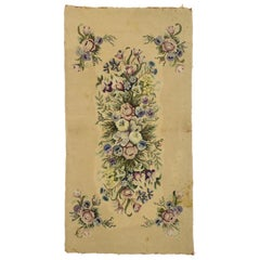 Antique American Hooked Rug with French Aubusson Style