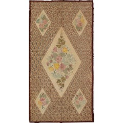 Large Antique American Hooked Rug with Latticework Background & Floral Bouquet