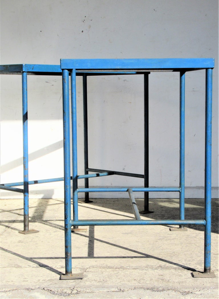 Painted Antique American Industrial Architectural Iron Tables For Sale