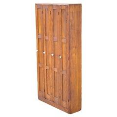 Antique American Industrial Oak Wood Slim Narrow File Cabinet Angled File Slots