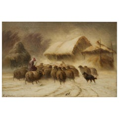 """Antique American Landscape Painting """"Herding Sheep in Snow"""" by Francis Wheaton"""