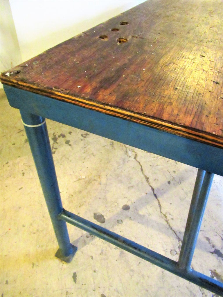Antique American Industrial Work Table For Sale at 1stdibs