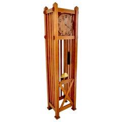 Antique American Mission Arts & Crafts Oak 8-Day Grandfather Clock, circa 1900
