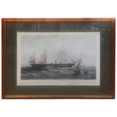 Antique American Nautical Sailboat Hand Colored Engraving