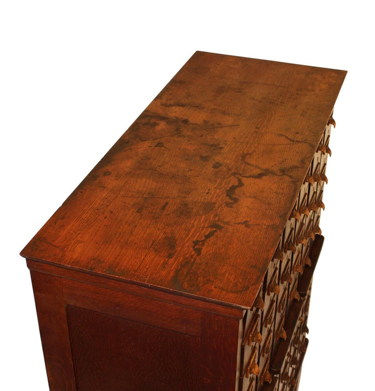 Metal Antique American Oak Card Catalog For Sale